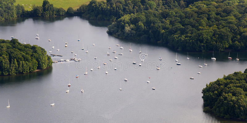 Download Aerial View : Mooring Sail Boats In A Lake Stock Photo - Image: 11020828
