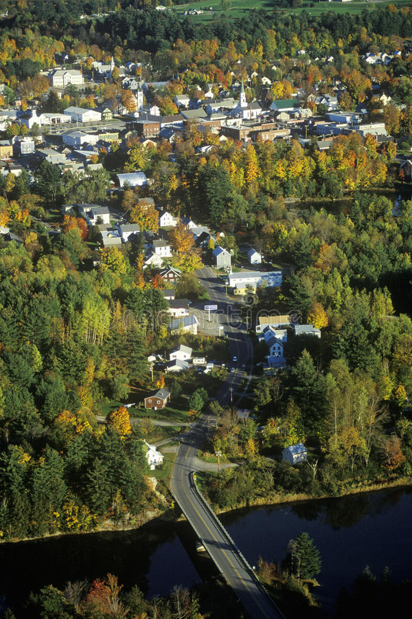 Aerial view of Morrisville, VT in Autumn on Scenic Route 100 at sunset stock photography