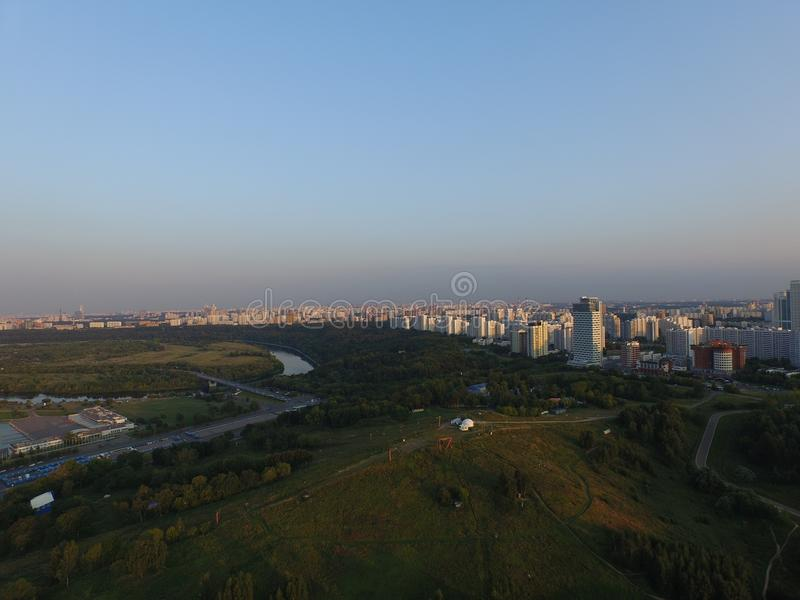 Aerial view of Moscow from Krilatskoe hills. Sunset in Russia stock photos