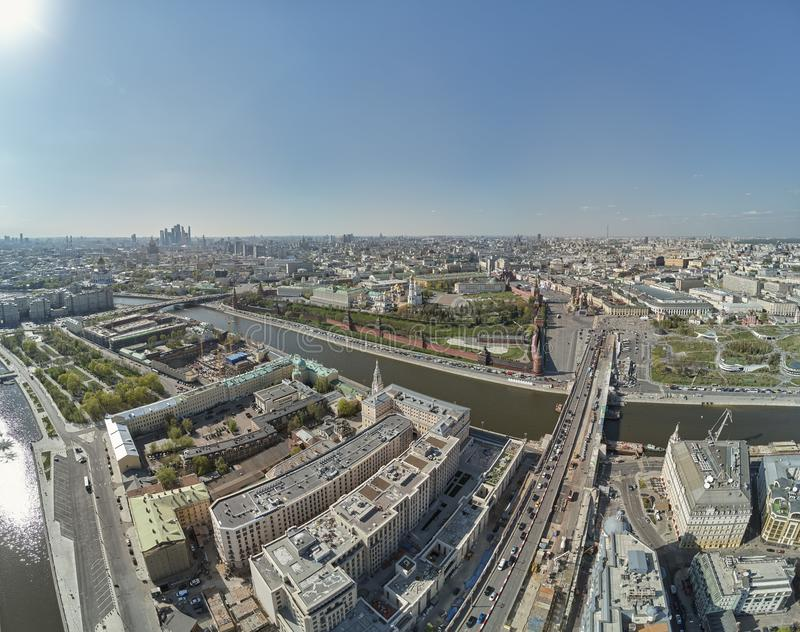 Aerial View on Moscow Red Square, Kremlin towers, Clock Kuranti, Saint Basil`s Cathedral church. Moscow Red Square royalty free stock photos