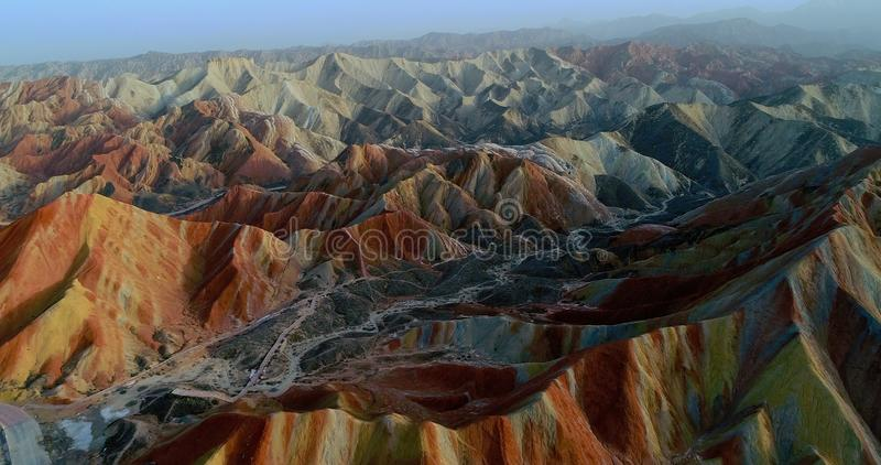 Rainbow mountains of Zhangye. Aerial view on the most colorful section of Zhangye Rainbow mountains, showing sandstone hills covered with breathtaking pattern stock photos