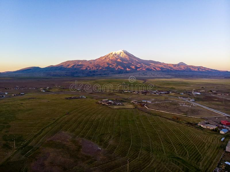 Aerial view of Mount Ararat, Agri Dagi. The highest mountain in Turkey on the border between the region of Agri and Igdir. stock photography