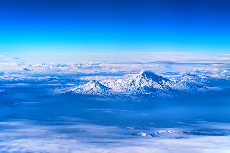 Aerial view of Mount Ararat stock photography