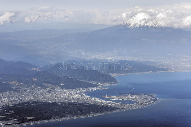 Aerial view of Mount Fuji. From the sky above Suruga Bay stock photo