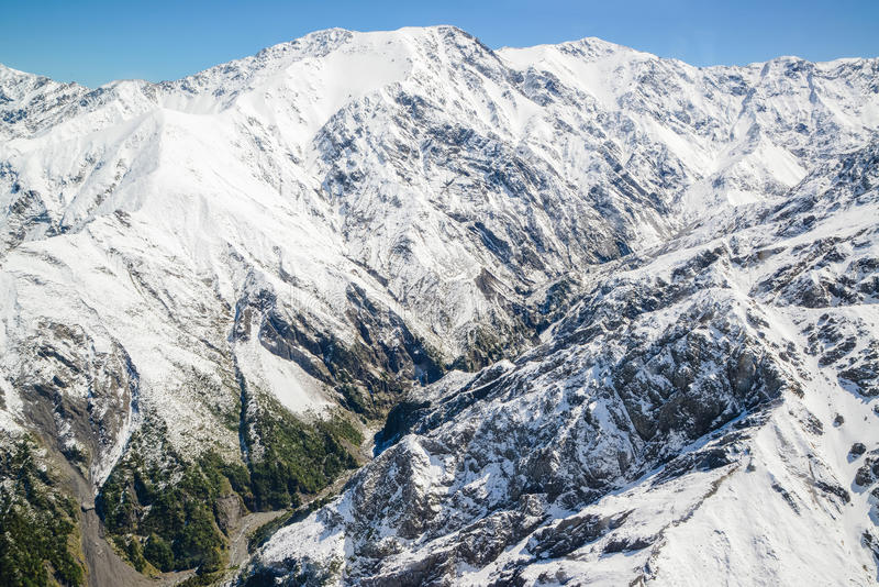 Aerial view of Mountain Cook Range Landscape with from Helicopter, New Zealand royalty free stock photo