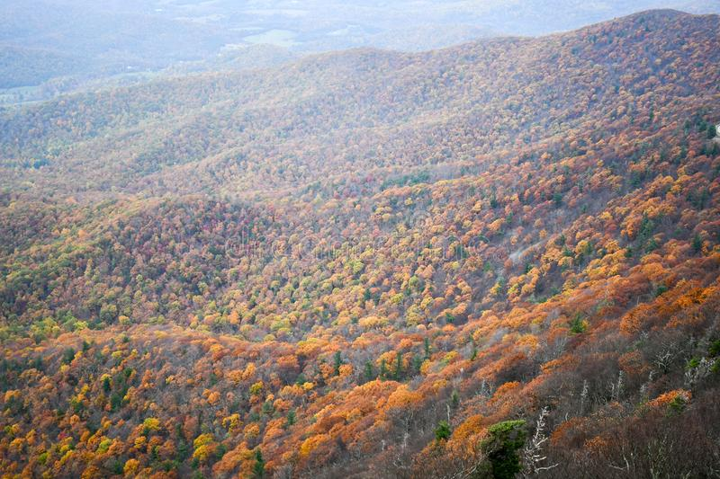 Aerial view of mountain forests in bright autumn colors stock photos