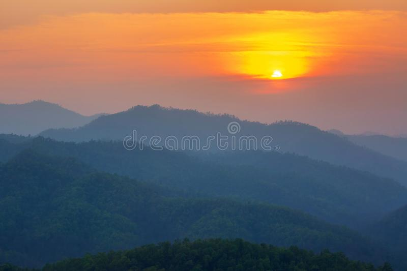 Aerial view of mountain range with warm sunlight, shade and shadow, sunset sunrise. From Mae Hong Son province Thailand royalty free stock photography