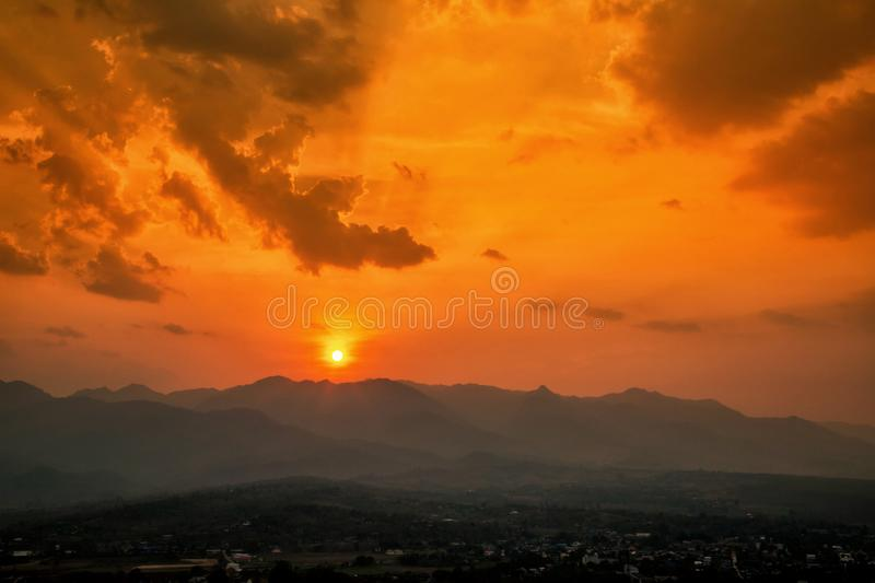 Aerial view of mountain range with warm sunlight, shade and shadow, sunset sunrise. From Mae Hong Son province Thailand royalty free stock image