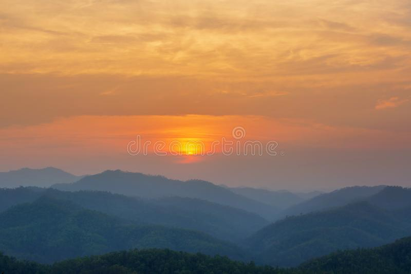 Aerial view of mountain range with warm sunlight, shade and shadow, sunset sunrise. From Mae Hong Son province Thailand royalty free stock images