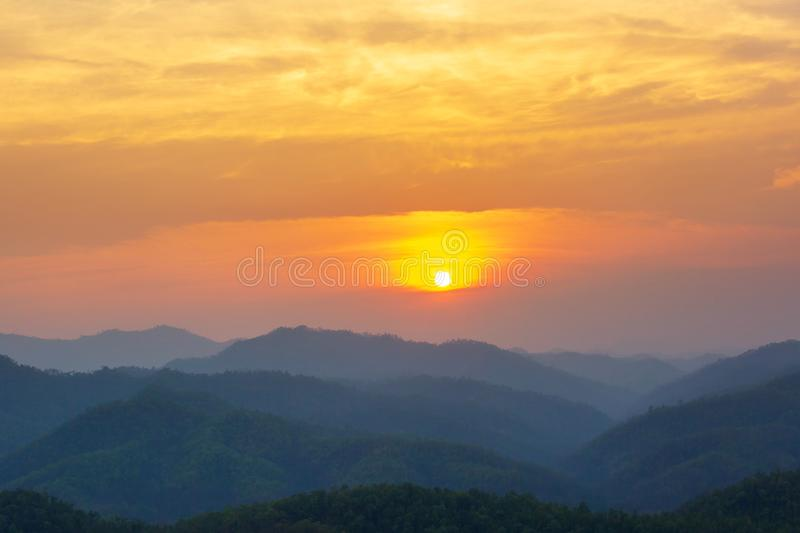 Aerial view of mountain range with warm sunlight, shade and shadow, sunset sunrise. From Mae Hong Son province Thailand stock photography