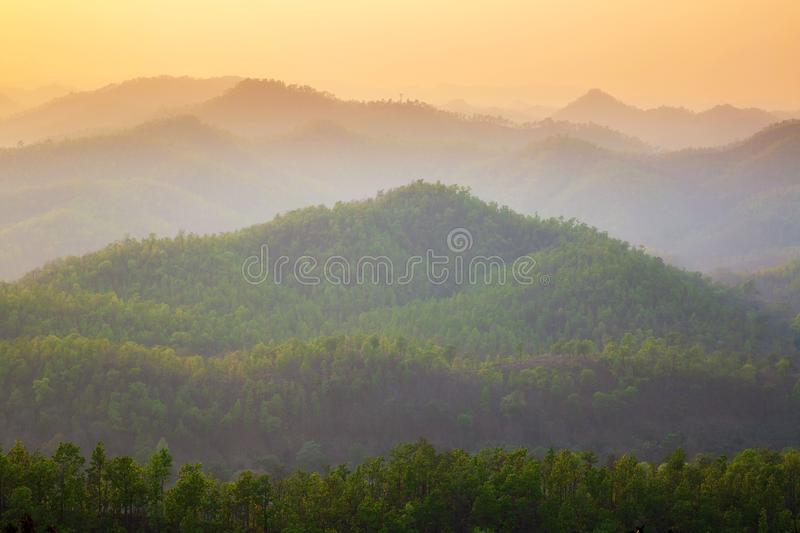 Aerial view of mountain range with warm sunlight, shade and shadow, sunset sunrise. From Mae Hong Son province Thailand stock image
