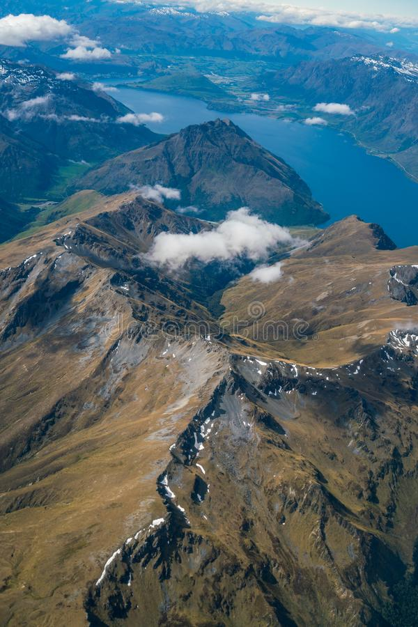 Aerial view of mountain ranges and lake landscape stock photography