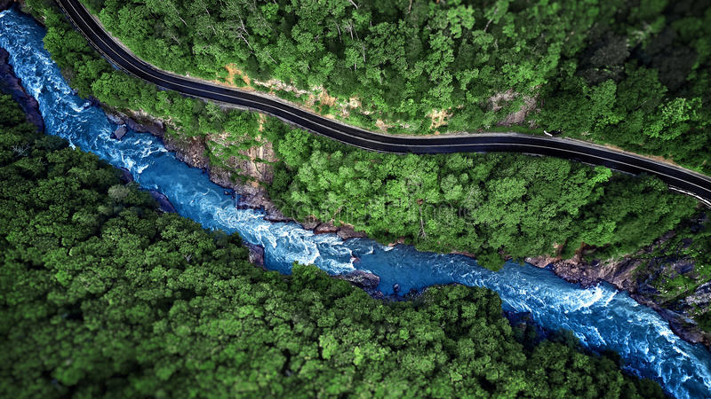 Aerial view of Mountain river and road. Mountain gorge royalty free stock photos
