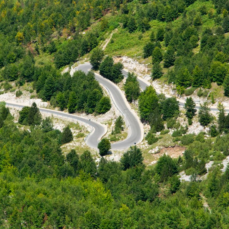 Aerial view of mountain road, Albania. Traveling stock photos