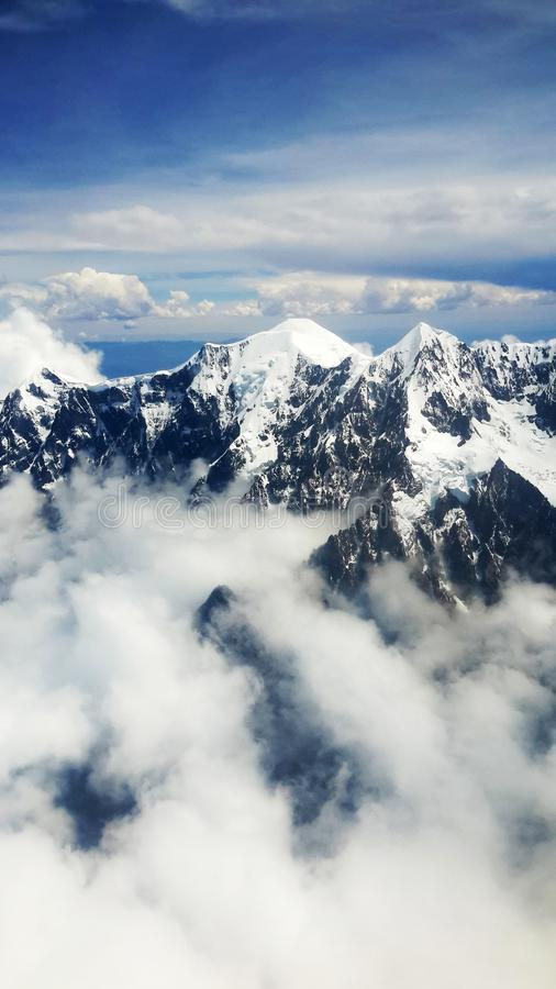Aerial View of Mountain With Snow royalty free stock photos