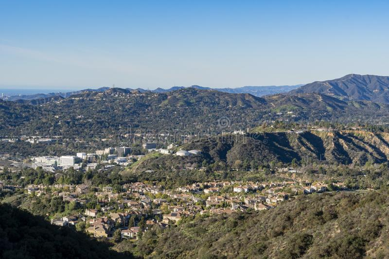 Aerial view of the Mountains and Altadena area. At Los Angeles, California royalty free stock photos