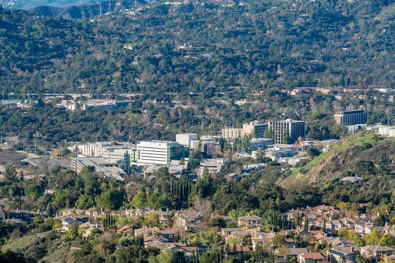 Aerial view of the Mountains and Altadena area. At Los Angeles, California royalty free stock photo