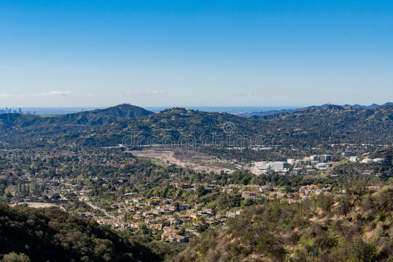 Aerial view of the Mountains and Altadena area. At Los Angeles, California royalty free stock images