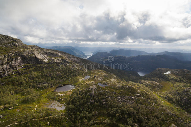 Aerial view of mountains lakes royalty free stock images