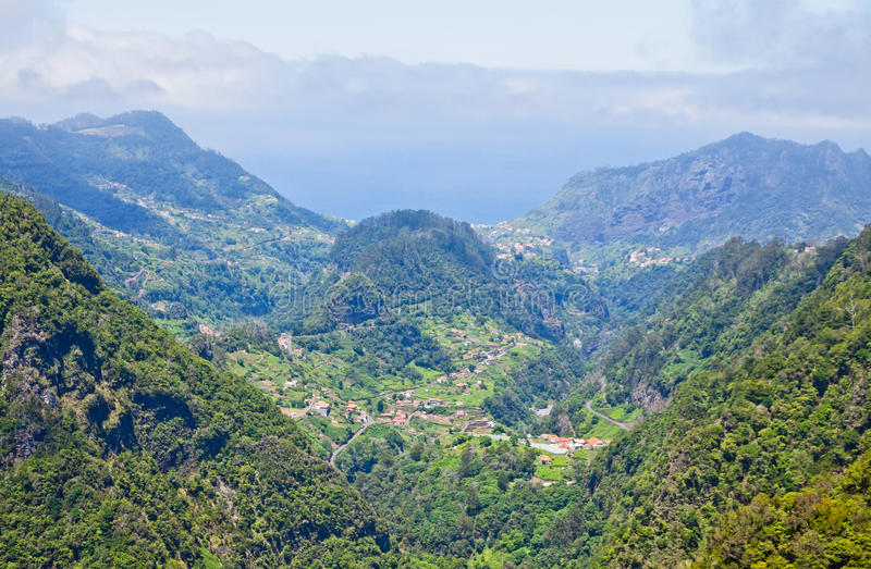 Aerial view of mountains on Madeira island royalty free stock image