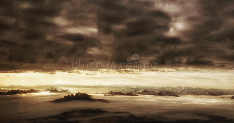 Aerial view of mountains stock photography