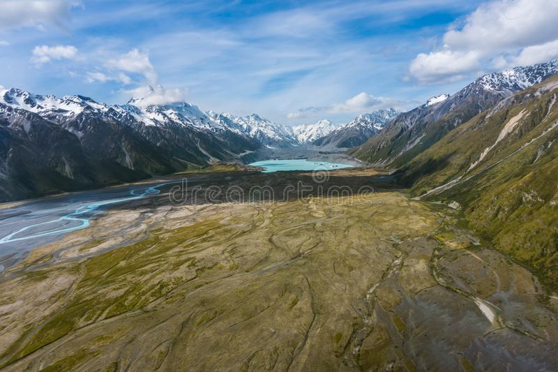 Aerial view of mountains in New Zealand. stock photos