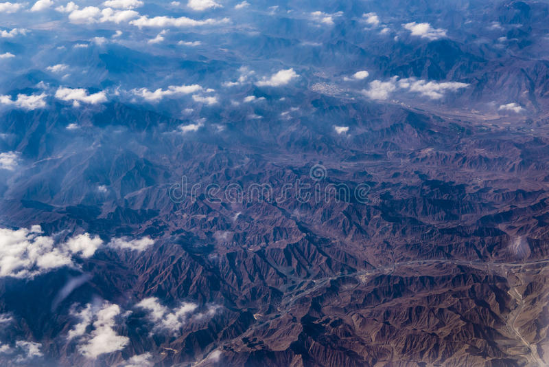 Aerial view mountains of Oman royalty free stock photos