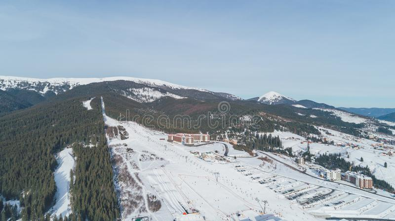 Aerial view of the mountains. Snow. Winter. royalty free stock photography