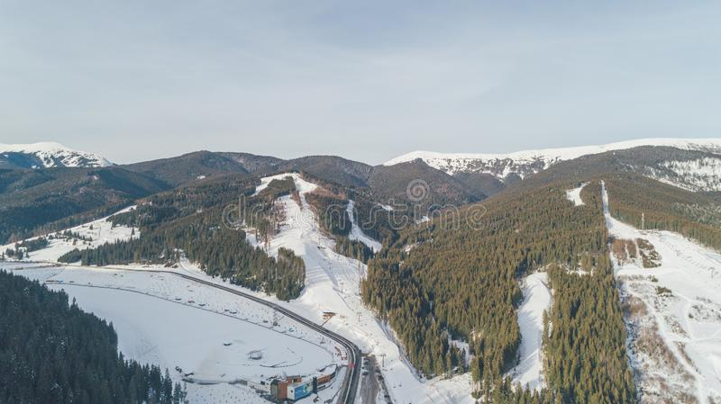 Aerial view of the mountains. Snow. Winter. stock photography