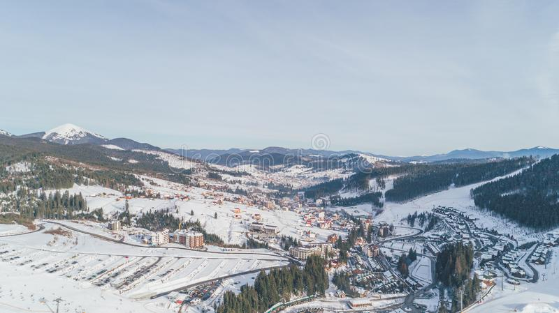 Aerial view of the mountains. Winter. Snow. Bukovel stock images