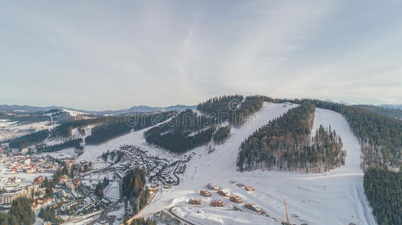 Aerial view of the mountains. Winter. Snow. Bukovel royalty free stock photo
