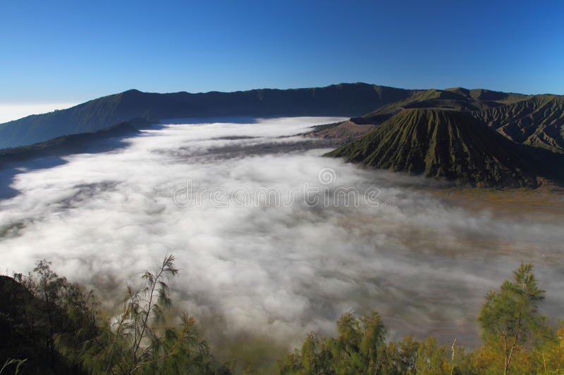 Aerial View of Mt. Bromo. Morning on Mt Bromo, East Java taken from heights royalty free stock images