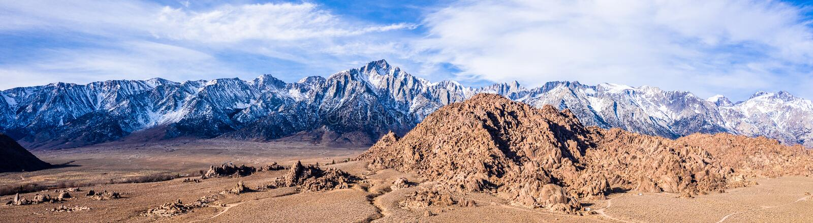 Aerial View of Mt Whitney Lone Pine, CA Eastern Sierra Nevada Alabama Hills. USA stock images