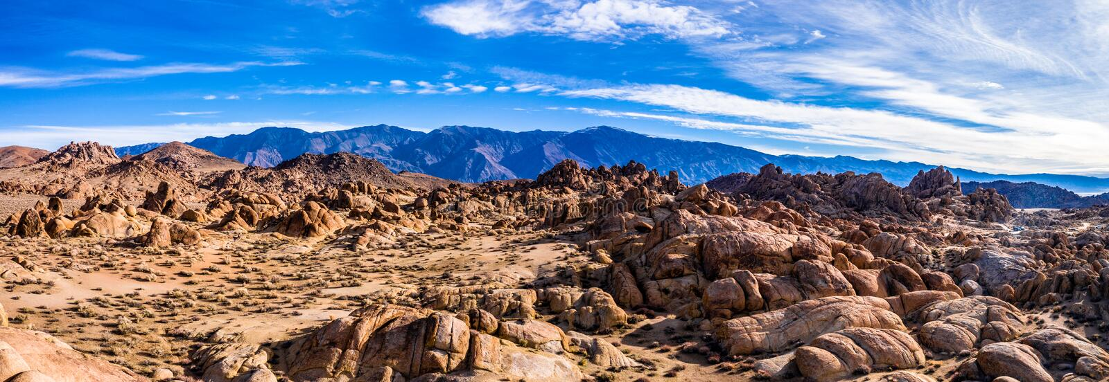 Aerial View of Mt Whitney Lone Pine, CA Eastern Sierra Nevada Alabama Hills. USA royalty free stock images