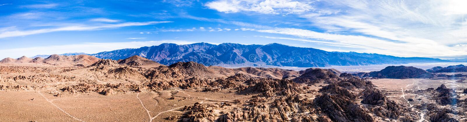 Aerial View of Mt Whitney Lone Pine, CA Eastern Sierra Nevada Alabama Hills. USA stock photo