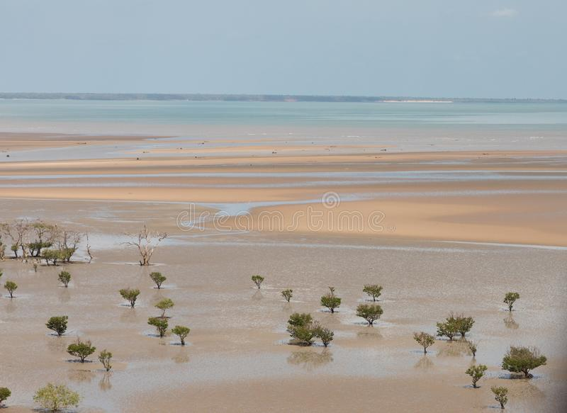 Aerial view of the mudflat coastline at low tide with mangroves. Darwin, Northern Territory, Australia royalty free stock photo