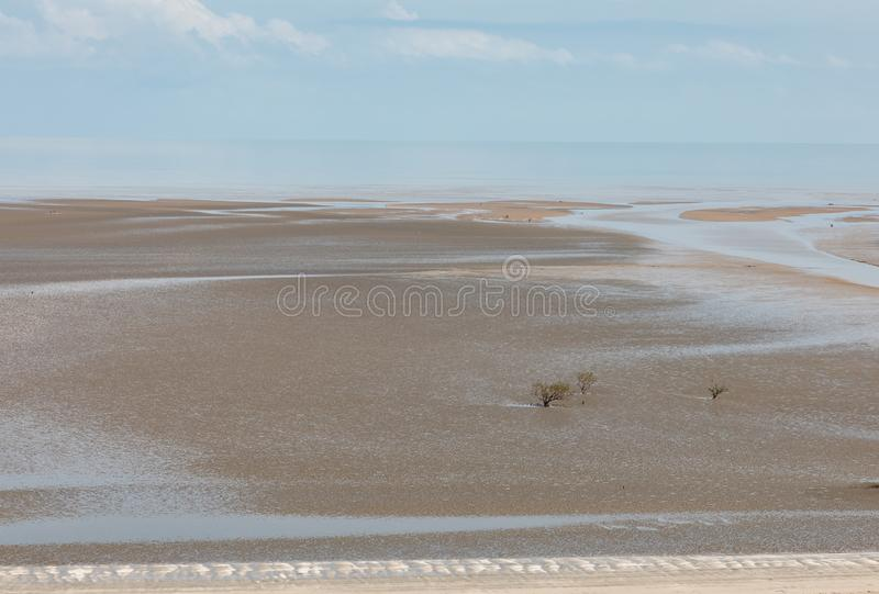 Aerial view of the mudflat coastline at low tide with water winding through the mud and mangroves. Darwin, Northern Territory, Australia royalty free stock photo