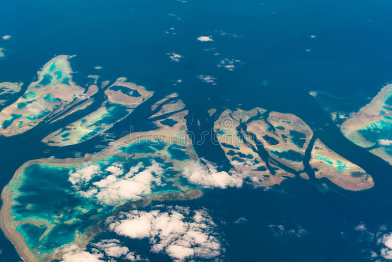 Aerial view of Muirhead Reef. Great Barrier Reef. Australia. Aerial view of Muirhead Reef. Great Barrier Reef. Queensland, Australia royalty free stock photo