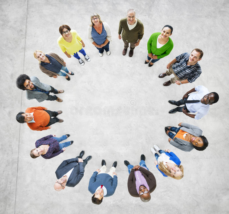 Aerial View of Multiethnic People Forming Circle.  royalty free stock photography