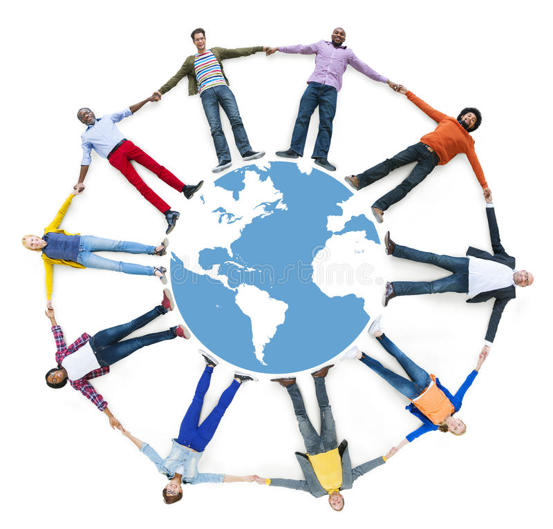 Aerial View of Multiethnic People Forming Circle and Globe.  royalty free stock image