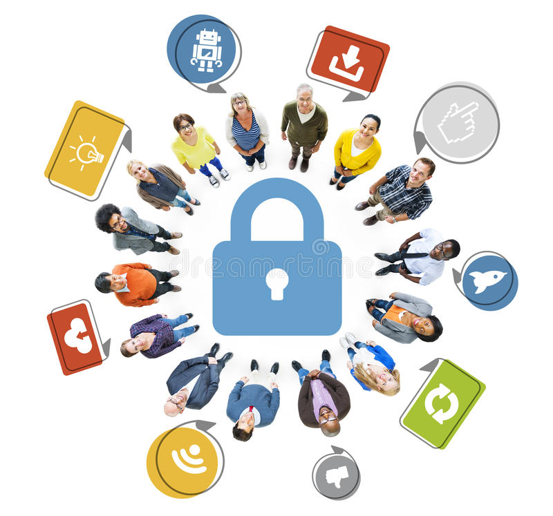 Aerial View of Multiethnic People and Social Media Security. Concept stock illustration