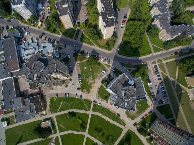 Aerial view of multistory apartments close to cecenija square in Kaunas stock photo
