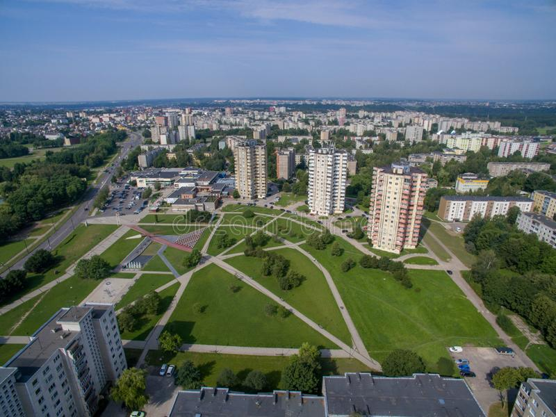 Aerial view of multistory apartments close to cecenija square in Kaunas stock images