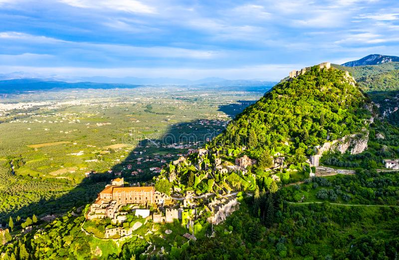 View of the Mystras Archaeological Site in Greece stock photos