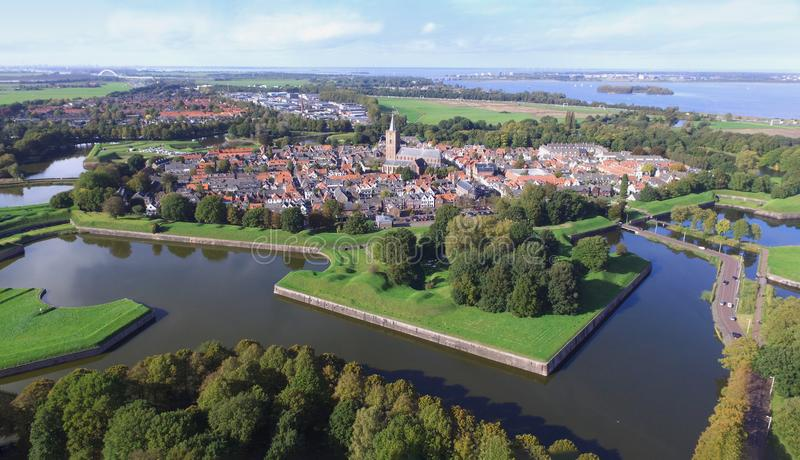 Aerial view on Naarden royalty free stock photos