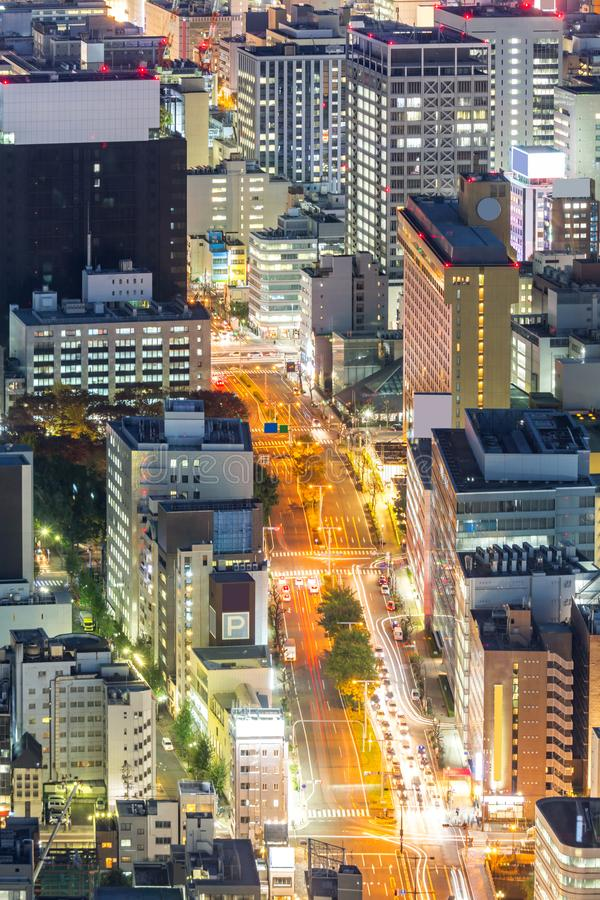 Aerial view of Nagoya. Night in Japan royalty free stock photos