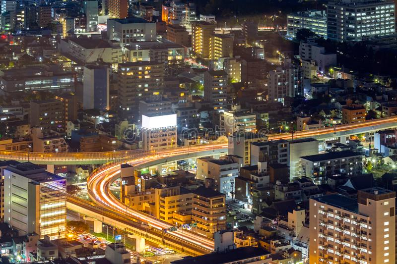 Aerial view of Nagoya. Night in Japan royalty free stock photography