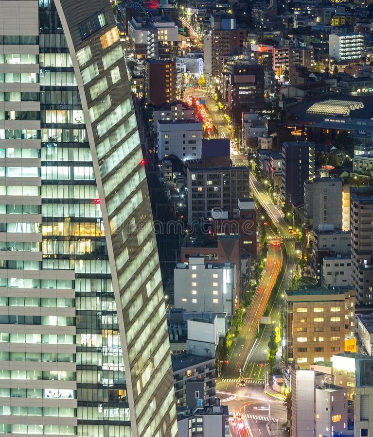 Aerial view of Nagoya. Night in Japan stock photos