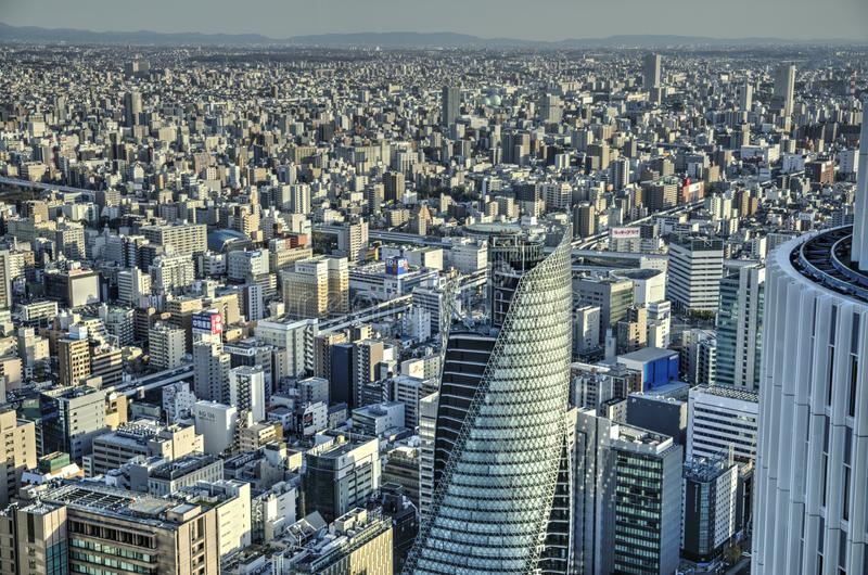 Nagoya, Japan. Aerial view on Nagoya downtown with many buldings and skyscraper, Aichi prefecture, Japan. Nagoya is a 4th biggest Japan city with more than 2.5 stock photos