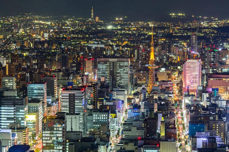 Aerial view of Nagoya. Night in Japan royalty free stock photo
